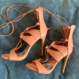 Liliana Unworn New Orange Lace-Up Heels - 6.5